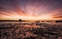 Red dawn over Lindisfarne castle-CN
