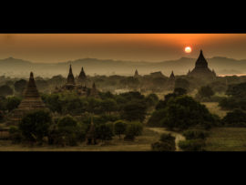 SUNSET OVER TEMPLES AT BAGAN by Tom Cross
